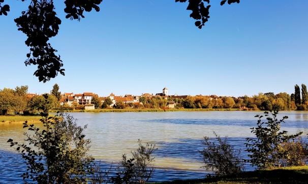 """Auf der anderen Seite des Sees sieht man die historische """"Skyline"""" von Pont-de-Vaux"""