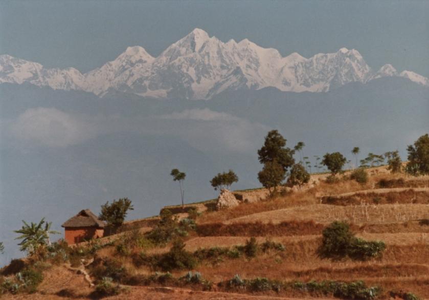 Der Himalaya, damals noch vom Kathmandutal aus sichtbar, heute im Smog verschwunden