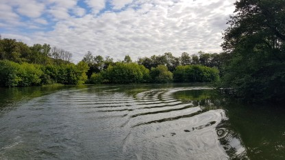 Unser Heckwasser in einem der vielen Flussbögen