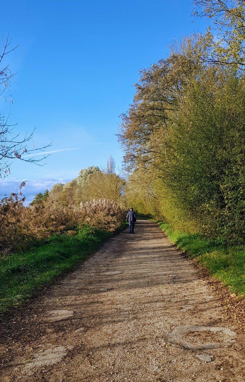 Der Uferweg im Sonnenschein und knallblauem Himmel