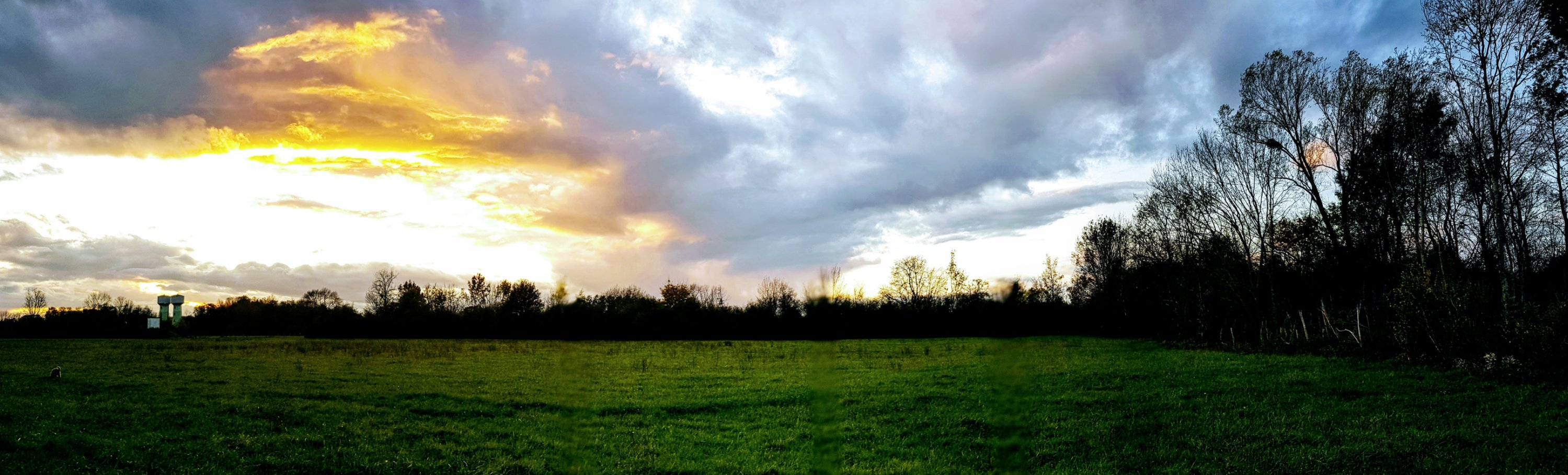 Bin spät dran mit Hundespaziergang, begleitet von dramatischen Sonne- und Wolkenspielen