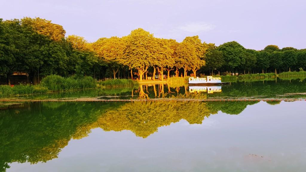 Abendstimmung am Hafen, Blick auf den formalen Park, die Champagnerbar versteckt unter den von der Sonne beleuchteten Bäumen