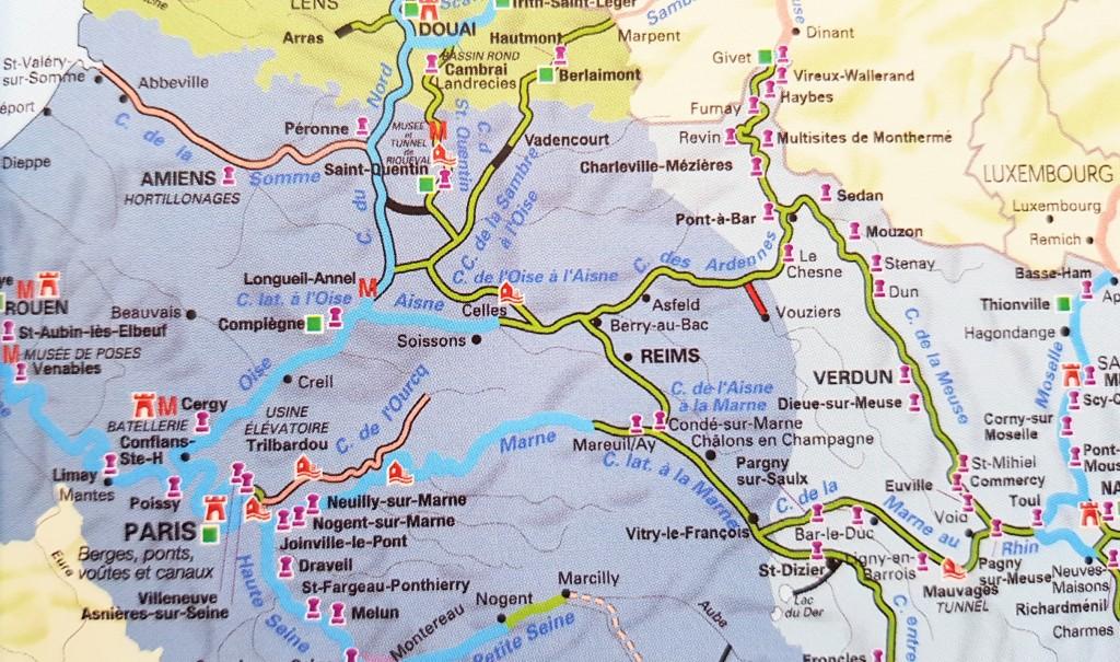 """Das Kanal-und Flusssystem in """"unserer"""" Gegend, in der Mitte Reims"""