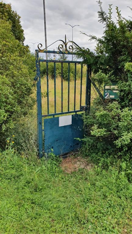 Das Gartentor des verlassenen Hauses, dahinter der überwucherte Garten: kein Paket!
